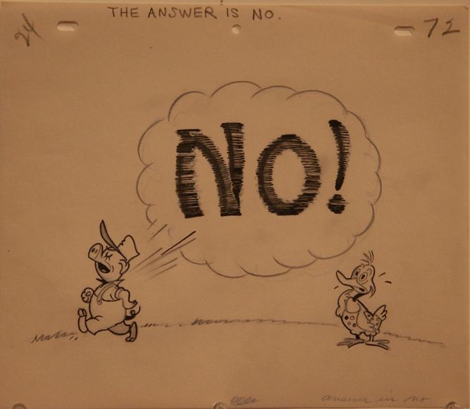 the answer is no In both the answer is no and say no, quotes are relatively uncommonthe corpus of contemporary american english gives these results: the answer is no 484 hits the answer is  no 27 hits (including punctuation variants) [say] no 8891 hits [say]  no  521 hits (including punctuation variants.